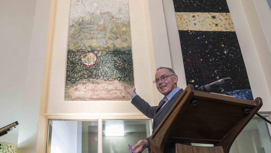 Professor Farquhar at the unveiling of the tapestry. Photo by Lannon Harley, ANU.