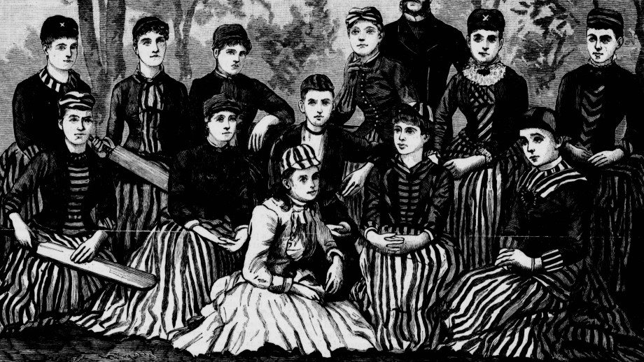 The Fernleas. NSW first women's cricket match. Captain: Louisa Gregory. Back row, 4th from left. Image: Illustrated Sydney News. May 15, 1886