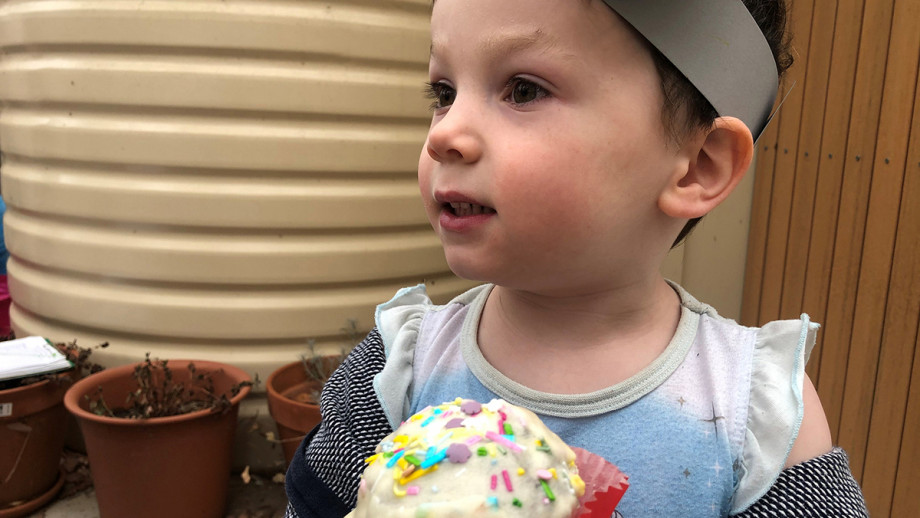 Finn, with koala ears, ate three cupcakes -- in one sitting! Photo: James Giggacher !