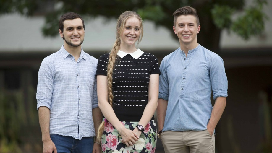 (L to R): The 2017 ANU Westpac Future Leaders Scholarship recipients Henry Orton, Toby Hendy and Simon McKenzie.