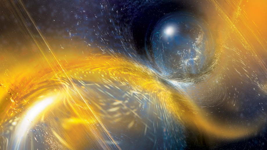 An artist's impression of the two neutron stars colliding. Image credit: National Science Foundation/LIGO/Sonoma State University/A. Simonnet