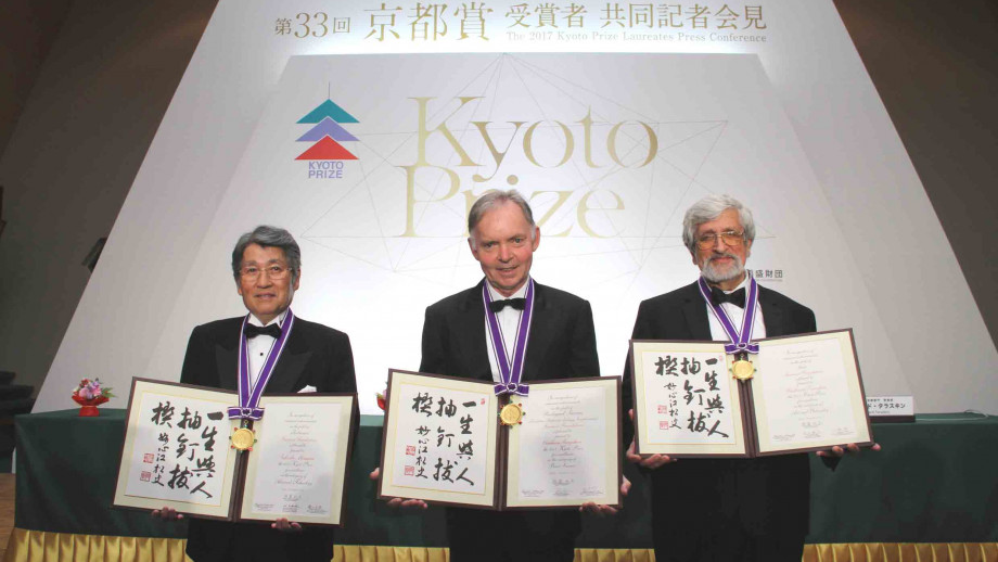 Dr Graham Farquhar (centre) with the other 2017 Kyoto Prize winners. Image: Courtesy of Inamori Foundation