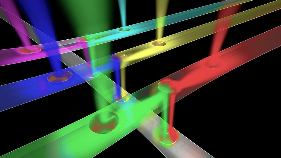 An artist's impression of a network of optical wires receiving and routing different streams of information to enable ultra-fast transmission of information in multicore processors for gaming and high-performance computing. Image: Stuart Hay, ANU