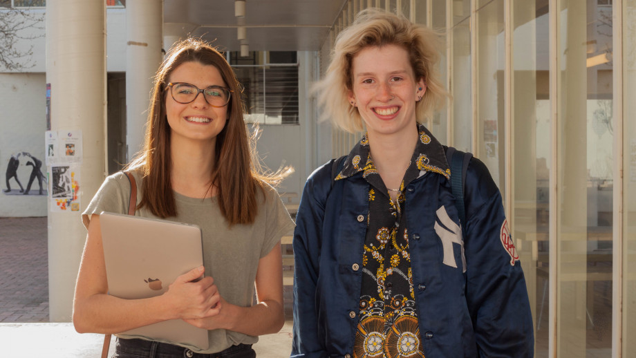 Zoe Bilston and Zoe Heacock student artists behind 2018 ANU Giving Day