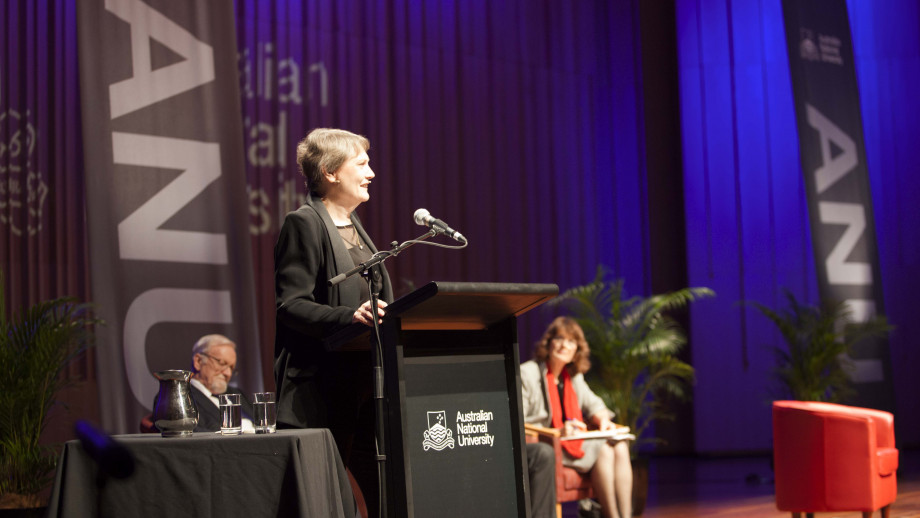 Rt Hon Helen Clark delivering the Crawford Oration/opening address. Photo by James Grubel, ANU.