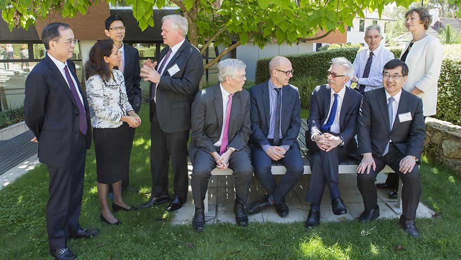Professor Schmidt and the Presidents of IARU on campus. Photo: Stuart Hay, ANU.