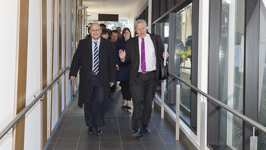 Federal Minister for Industry, Innovation and Science Senator The Hon Arthur Sinodinos and Vice-Chancellor Professor Brian Schmidt. Photo: Stuart Hay, ANU.