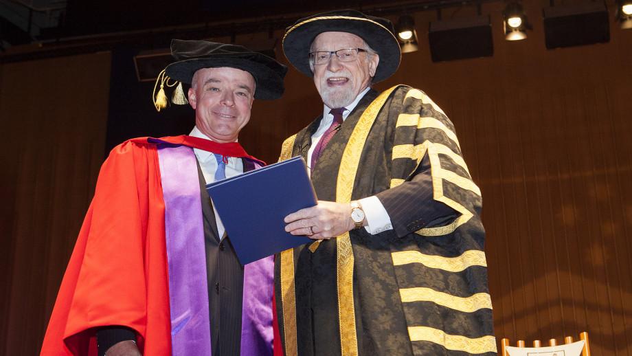 Dr Brendan Nelson and ANU Chancellor Professor Gareth Evans. Photo by Stuart Hay, ANU.