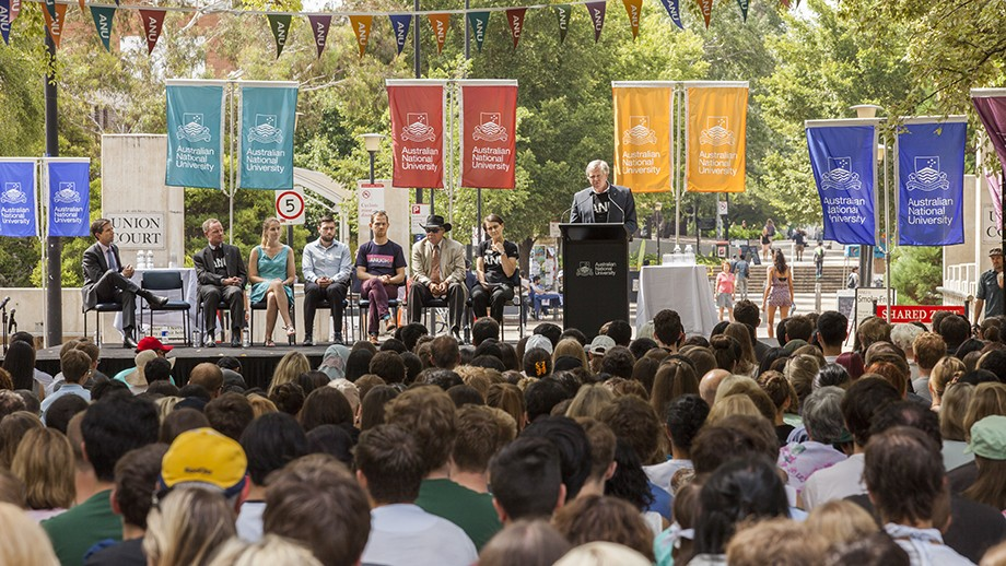 Professor Schmidt speaking at the 2016 ANU Commencement Address. Photo by Stuart Hay, ANU.