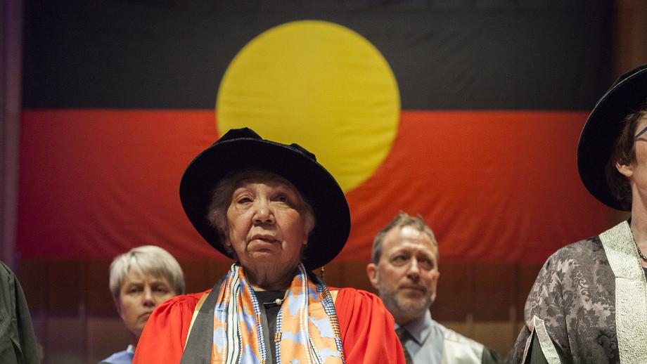 Ngambri-Ngunnawal Elder Matilda House at her honorary conferral. Photo by Stuart Hay, ANU.