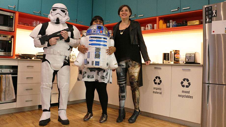 AR&P team members wearing Star Wars costumes and props