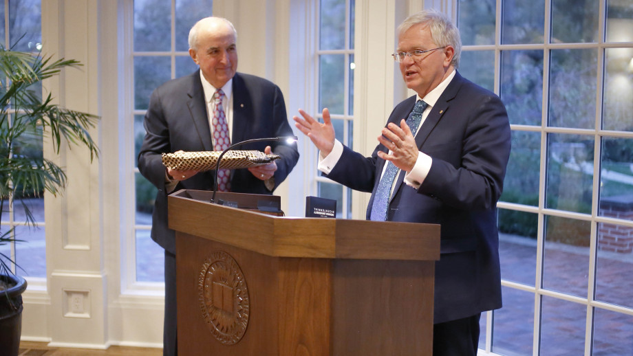 Vice-Chancellor Professor Brian Schmidt speaking at Indiana University. Image: courtesy NALO.