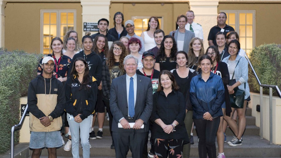 With Anne Martin from the ANU Tjabal Indigenous Higher Education Centre, and 17 Indigenous students from across Australia, at Mt Stromlo Observatory. Photo: James Walsh.