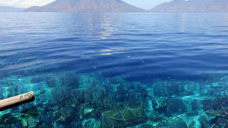 A fish trap on the reef edge of Alor Island. Credit: Marko Reimann/Alamy Stock