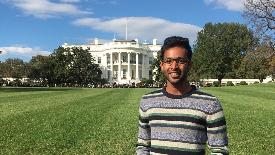 Jeeven Nadanakumar on the South Lawn of the White House, Washington, D.C. Image: supplied.