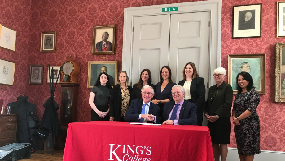 The Vice-Chancellor shaking hands with Professor Ed Byrne AC, The President and Principal of King's College London.