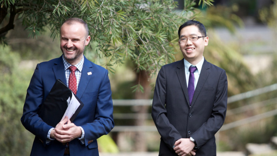 ACT Chief Minister Andrew Barr with 2017 ACT Scientist of the Year Dr Kai Chan.