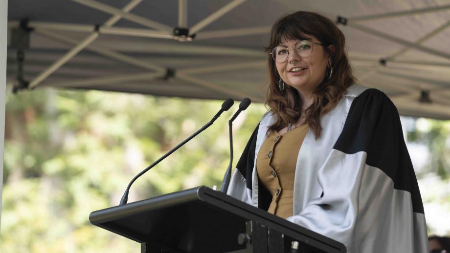 Karlie Noon speaking at the inaugural ANU Grand Graduation. Photo by Lannon Harley, ANU.