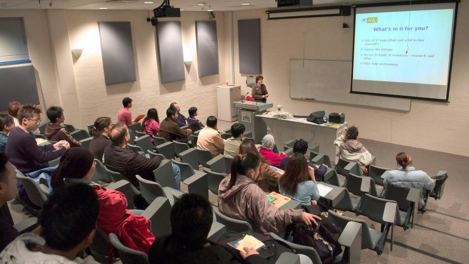 Lecture theatre at ANU. Image by ANU photographer Stuart Hay.