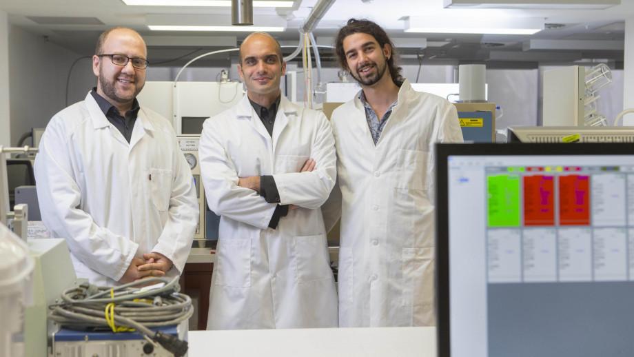 Dr Mohsen Rahmani, Associate Professor Antonio Tricoli and Zelio Fusco (pictured left to right). Image credit: Lannon Harley, ANU