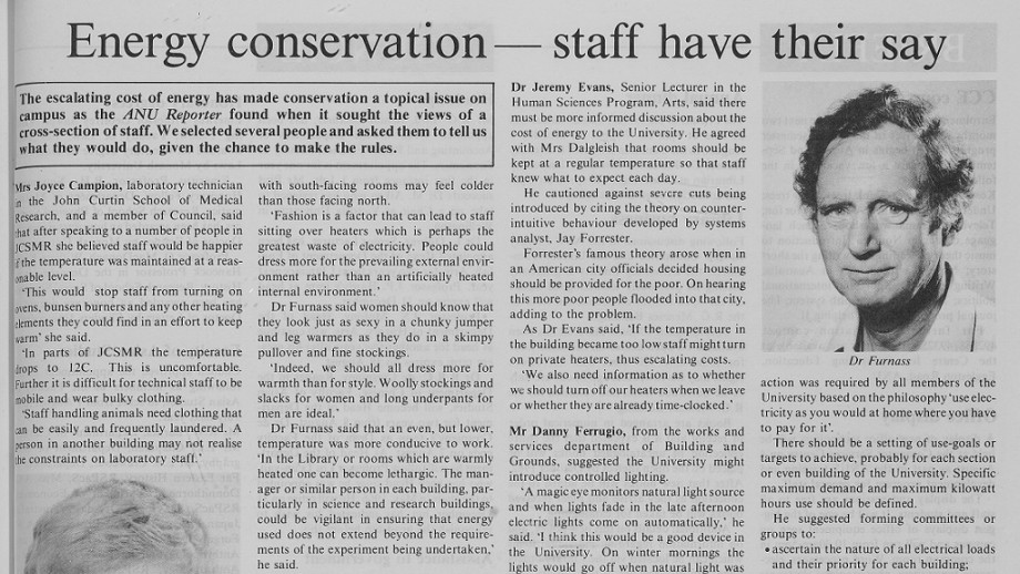 ANU Reporter looked at energy conservation ideas in 1982.