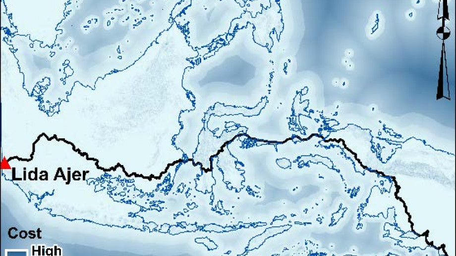 The study showed that the most likely route into Australia from Lida Ajer in Southeast Asia was through Indonesia's northern islands, into New Guinea and then onto Madjedbebe in Arnhem Land in the Northern Territory. Image credit: Shimona Kealy et al.