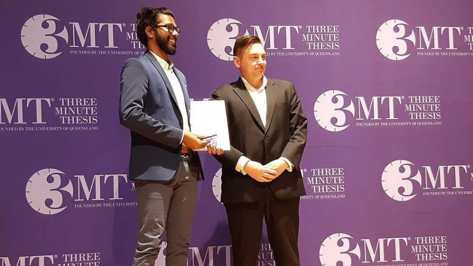 PhD student Lithin Louis at the Asia-Pacific 3MT in Queensland recently. Image: supplied.