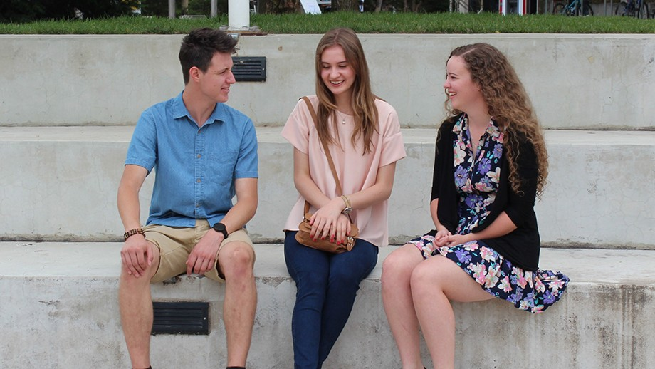ANU main round offer students Alexander Ollman, Melissa Nuhich and Eloise Fry.