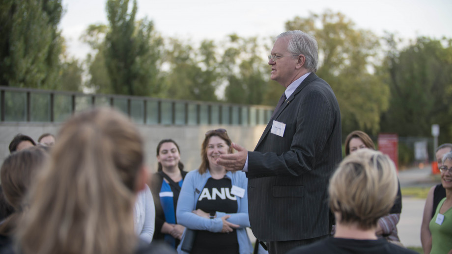 Vice-Chancellor Professor Brian Schmidt speaking to mentors and mentees at the inaugural Canberra Mentors Walk. Photo by Jamie Kidston, ANU.