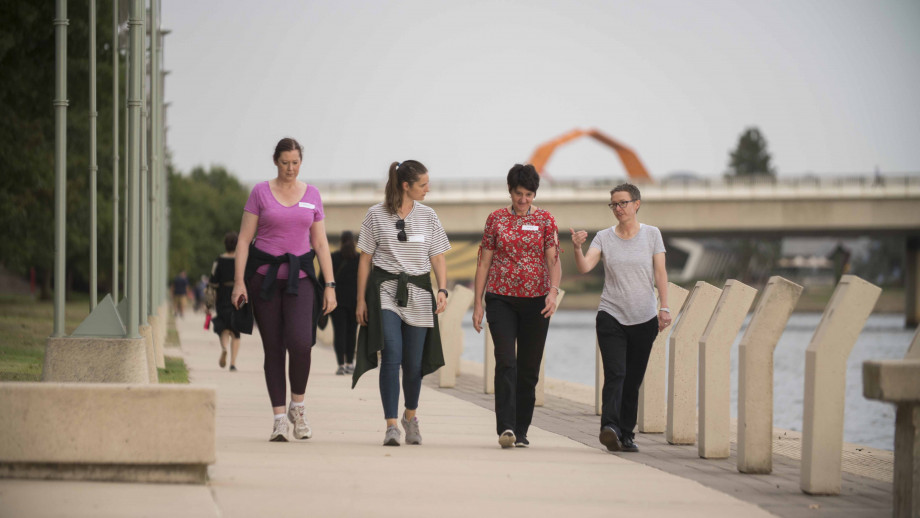 Dean of the ANU College of Engineering and Computer Science, Professor Elanor Huntington walking with mentees as part of the inaugural Canberra Mentor Walks. Photo by Jamie Kidston, ANU.