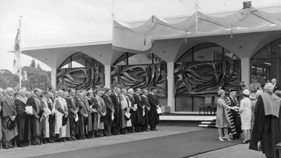 The Menzies (Law) Library was opened by Queen Elizabeth II in 1963. Photo: ANU Archives.