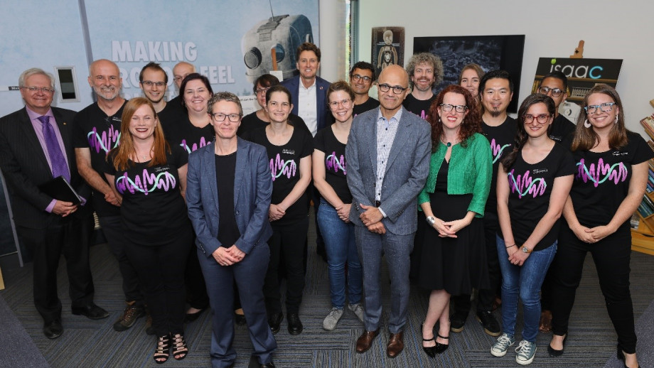 Vice-Chancellor Professor Brian Schmidt, CECS Dean Elanor Huntington, 3A Institute Director Genevieve Bell, Microsoft CEO Satya Nadella, Managing Director Microsoft AU Steven Worrall and the 3Ai Masters 2019 cohort.