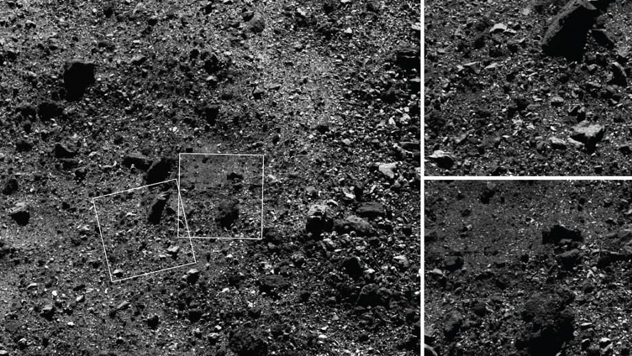 This trio of images acquired by NASA's OSIRIS-REx spacecraft shows a wide shot and two close-ups of a region in asteroid Bennu's northern hemisphere.  Credit:  NASA/Goddard/University of Arizona