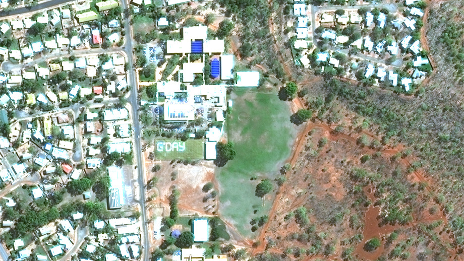 Satellite flyover image of 'G'DAY' featured on Katherine High School oval, Katherine, NT. Credit: Maxar Satellite.