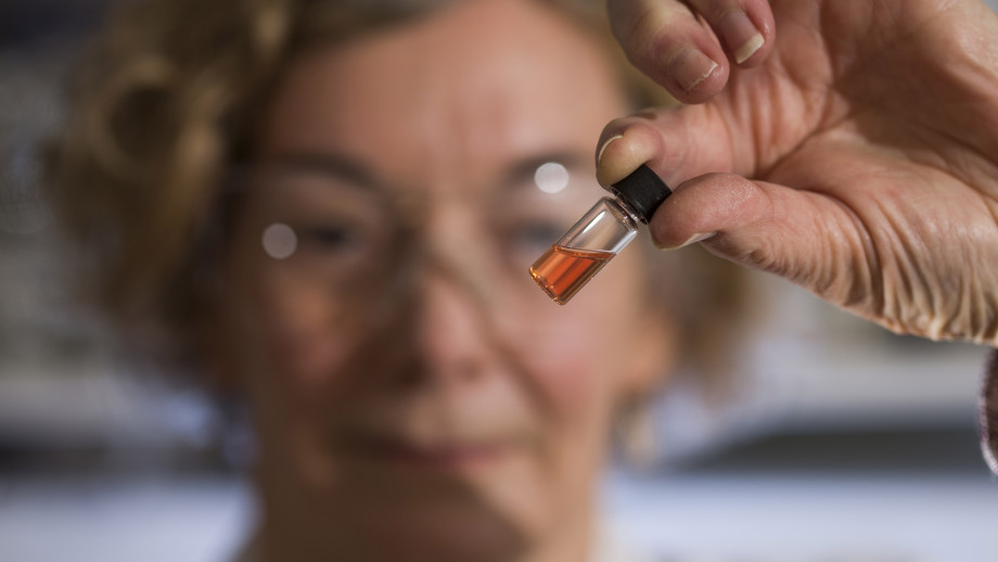 Biogeochemistry Lab Manager Janet Hope from the ANU Research School of Earth Sciences holds a vial of pink coloured porphyrins representing the oldest intact pigments in the world. Image credit: ANU