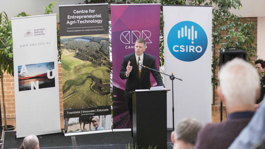 Professor Owen Atkin speaking at the launch of the Centre for AgriTechnology. Photo by Lannon Harley, ANU.
