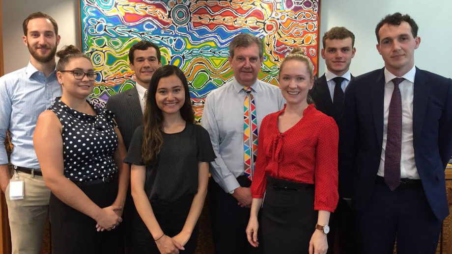 Yasmin, pictured fourth from the left, with the Australian delegation, including High Commissioner to Papua New Guinea, Mr Bruce Davis and diplomatic staff. Image: supplied.