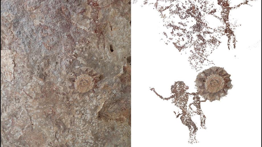 Kasir Island cave painting of figures gesturing to sundrum. Image: ANU.