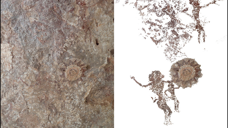 Kasir Island cave painting of figures gesturing to sundrum. Image: ANU.