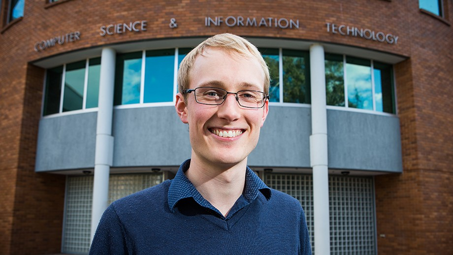 College of Engineering and Computer Science graduate Peter Marshall. Image: Stuart Hay.