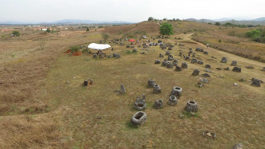 The ANU dig site at the Plain of Jars as seen by drone. Image: ANU.