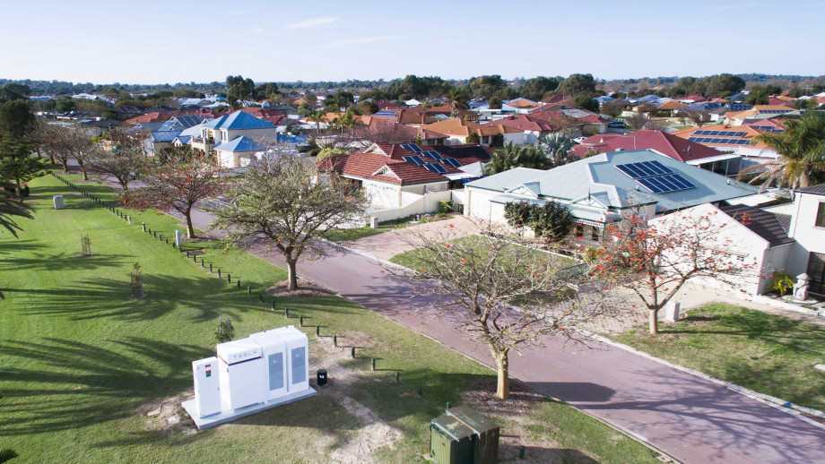 Western Power has been trialling community batteries in WA that integrate bulk solar battery storage into the existing electricity grid, while also providing customers with an option to virtually store excess rooftop solar energy. Credit: Western Power