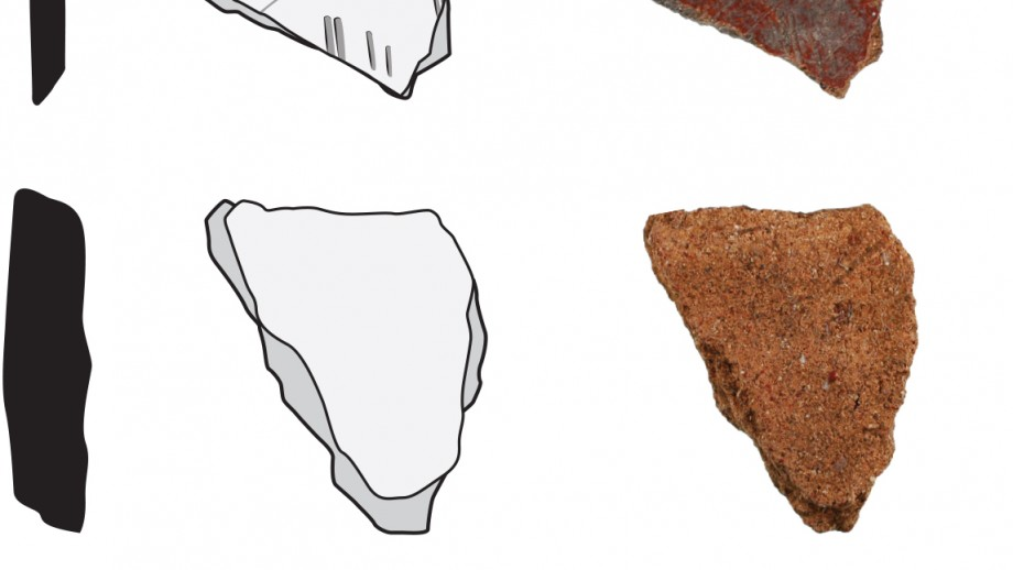 Pottery pieces from Wanalek - oldest piece top. Images: Dylan Gaffney, Glenn Summerhayes, Anne Ford, Sue Bulmer