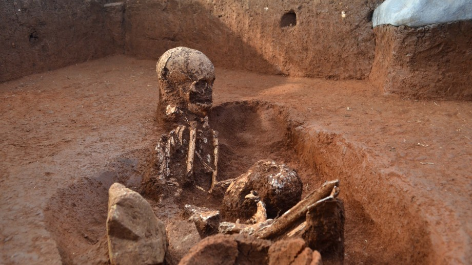 Unearthed 2,500 year old human remains at the Plain of Jars. Image: ANU.