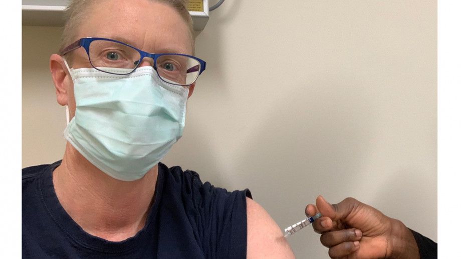 Pictured: Professor Tracy Smart AO receiving her first AstraZeneca vaccination