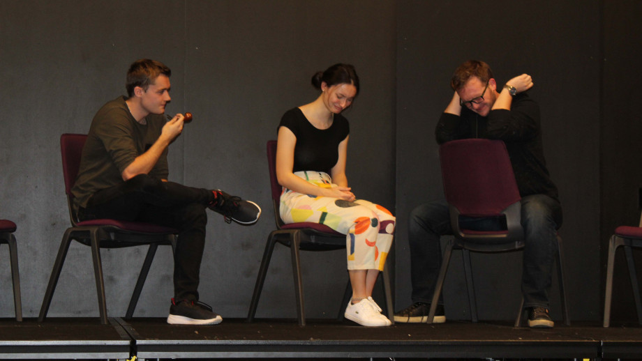 The cast of Pygmalion at a rehearsal. Image: supplied.