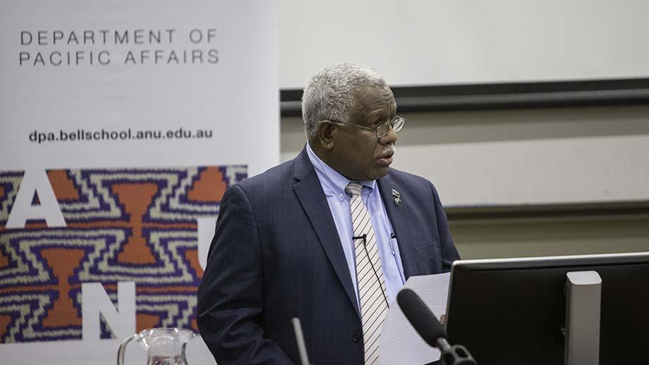 Solomon Islands Prime Minister the Hon Rick Houenipwela delivering lecture