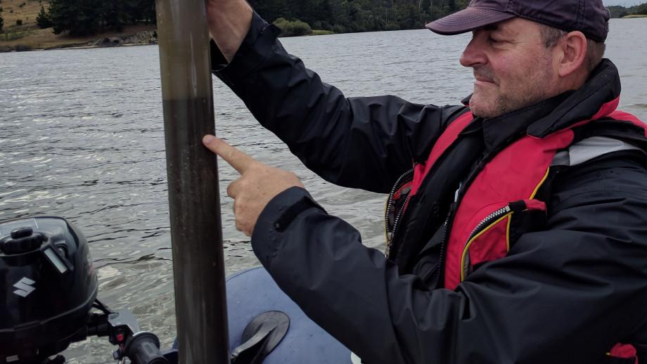 Professor Simon Haberle collecting freshwater sediment cores. Image: ANU