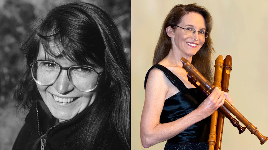 Sally Melhuish, then (left) and now (right)