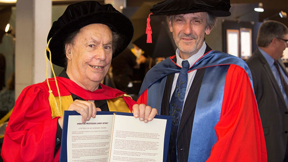 Professor Larry Sitsky shows off his Honorary Degree with CASS Interim Dean Professor Paul Pickering. Image by Evana Ho.